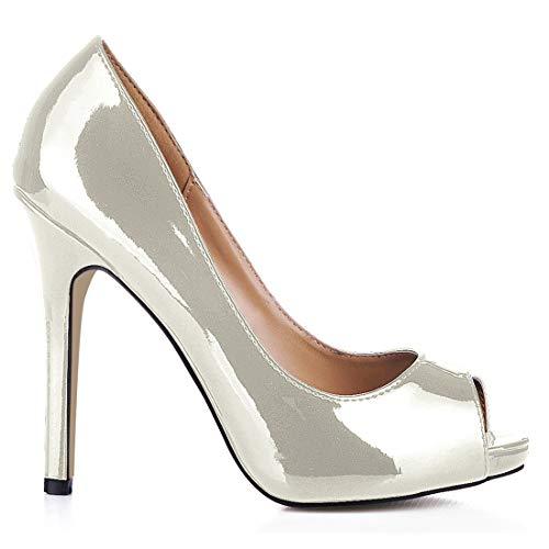 CHMILE CHAU-Zapatos para Mujer-Bombas de Tacon Alto de Aguja-Sexy-Vestido de Fiesta-Punta Abierta-Plataforma 1cm