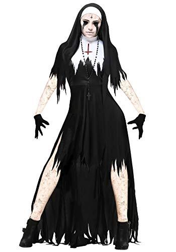 thematys Gruselige Horror Nonne Kostüm-Set für Damen - perfekt für Halloween, Fasching & Karneval - 4 Verschiedene Größen (L)