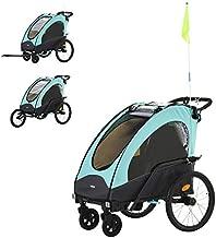 Aosom Child Bike Trailer 3 In1 Foldable Jogger Stroller Baby Stroller Transport Carrier with Shock Absorber System Rubber Tires Adjustable Handlebar Kid Bicycle Trailer Blue and Grey