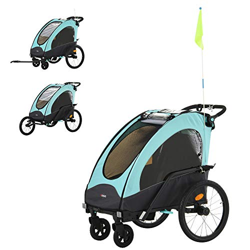 Aosom Child Bike Trailer 3 In1 Foldable Jogger Stroller Baby Stroller Transport Carrier with Shock Absorber System Rubber Tires Adjustable Handlebar Kid Bicycle Trailer Blue and Grey
