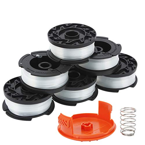 """HuaQi String Trimmer Replacement Spool Compatible with Black and Decker AF-100 Autofeed Weed Eater Spools 30ft 0.065"""" Line with RC-100-P Spool Cap Cover (6 Replacement Spools+1 Spool Cap+1 Spring)"""