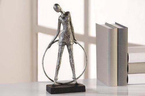 Scultura di decorazione Silhouette poliresina/Metallo Finitura Anticata argento altezza 30cm