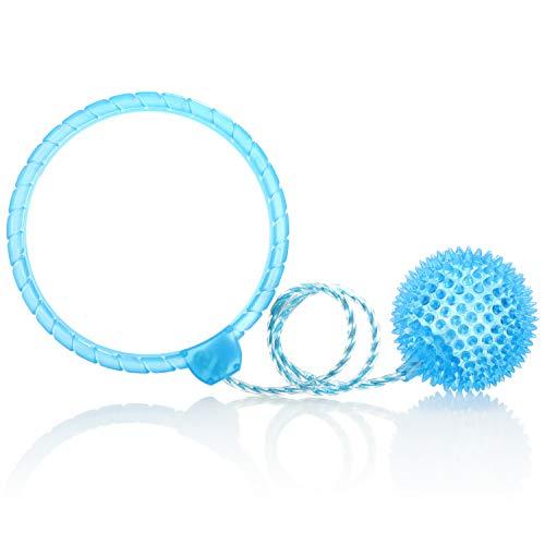 com-four® giroscopio de pie con luz - Pelota de Salto para niños - Bola oscilante Colorida de Tobillo Intermitente - Sáltate (Azul)