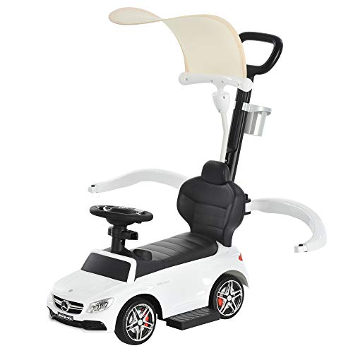 Aosom 3 in 1 Ride on Push Car Mercedes Benz for Toddlers Stroller Sliding Walking Car with Sun Canopy Horn Sound Safety Bar Cup Holder Ride on Toy for 1-3 Years Old, White