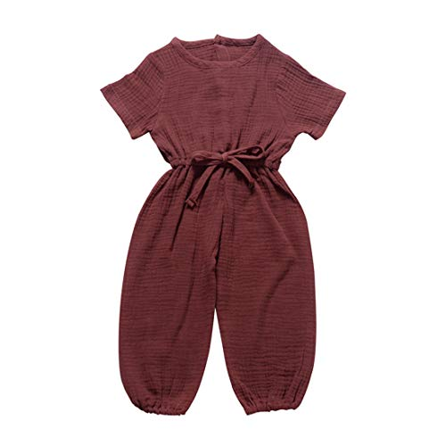 6 Months - 3Years Children's Kids Baby Girls Boys Summer Solid Color Short Sleeve Bandage Jumpsuit Cotton and Linen Romper Brown (Brown, 12-18M)