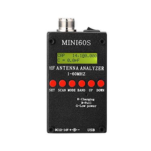 sazoley Mini60S 1-60MHz HF ANT SWR Antennenanalysator-Messgerät mit BT Android APP PC-Software für Amateurfunk-Hobbisten 90 * 53 * 25mm