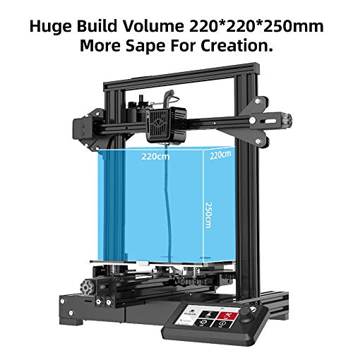 Voxelab Aquila 3D Printer with Carbon Crystal Silicon Glass Plateform,Fully Open Source and Resume Printing Function Build Volume 220x220x250mm