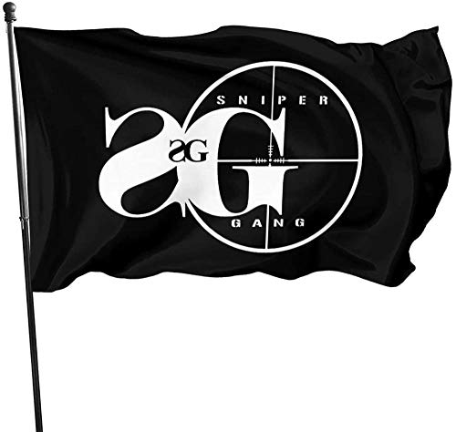 firjiyj Gartenflagge ,Sniper Gang Rap Musik Warm Stretchy Solid Flag 90 * 150cm Indoor Outdoor Banner.