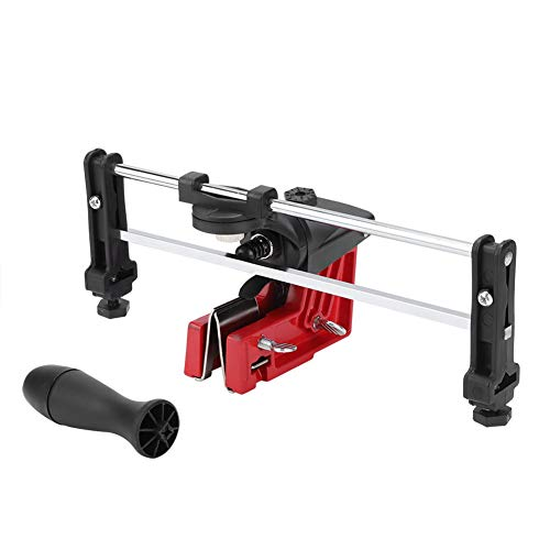 Afilador de cadena manual adecuado, sierra de afilar posición correcta, no es necesario desmontar el afilador de cadenas de metal (rojo + negro).
