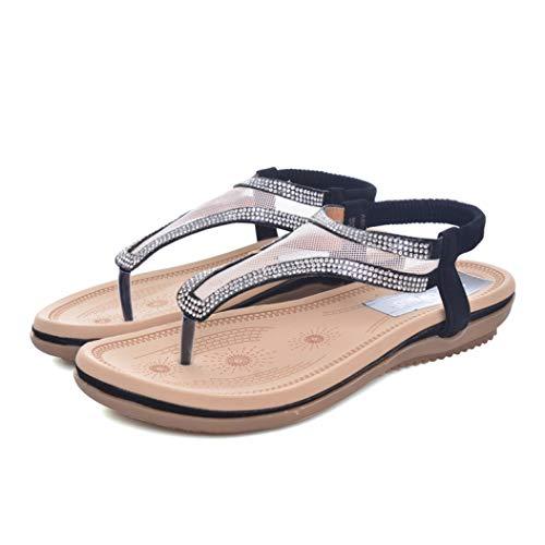 Sandalias de Plataforma para Mujer Chanclas Planas Malla de Cristal T Correa Banda elástica Vestido de Playa Sandalias