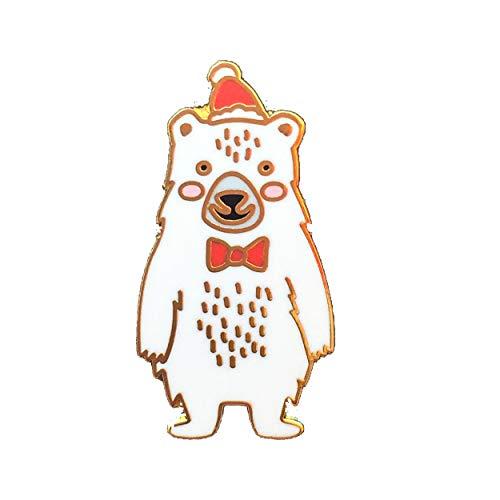 Black Jaguar Eisbär Pin auf Weihnachtsgrußkarte | Wichtelgeschenk | Kleine Weihnachtsgeschenke für Kollegen