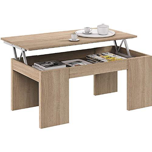 Tavolino da caffe' sollevabile 100 X 50 X 43 cm con rialzo salvaspazio soggiorno ROVERE 001637F