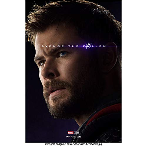 Chris Hemsworth 8 Inch x 10 Inch photograph Avengers: Endgame (2019) Head Shot w/Blue Background'Avenge the Fallen' Pose 1 kn