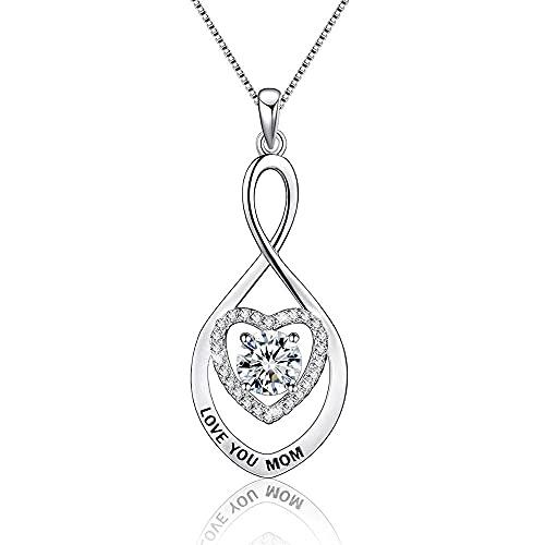 Yaowo 2021 Regalo del Día De La Madre 925 Collar De Plata Chapado En Oro De Plata Esterlina, Mamá
