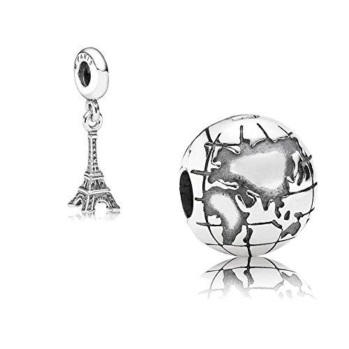 Pandora Original Set regalo – 1 clip argento 791182 mappamondo + 1 ciondolo in argento 791082 Torre Eiffel