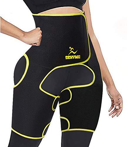 SEXYWG Waist Trimmer Trainer 3 in 1 Weight Loss Thigh Trimmer Belt Hip Enhancer Butt Lifter Body Shaper Workout Girdle Yellow