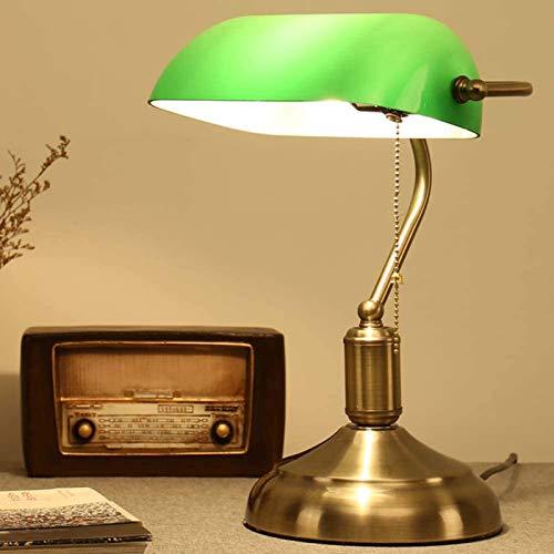 HONGLONG Lámpara de Escritorio de Estilo Retro, lámpara de Escritorio/lámpara de banqueros/lámpara de Oficina Sombra de Cristal Blanca, Interruptor de Pull y Bombilla de filamento LED 4W