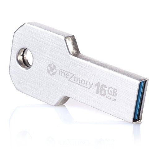meZmory Schlüssel USB Stick 3.0 16GB Silber - Schnell, Hochwertig & Einzigartiges Mini Design - Speicherstick Wasserdicht & Extrem Robust aus Metall - Flash-Drive Ideal für Schlüssel-Anhänger