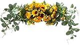 U'Artlines Floral Swag Flores Artificiales Girasol Guirnalda de Eucalipto Guirnalda Hecha a Mano para Espejo Decoración del Dintel de la Puerta del de Boda en Casa