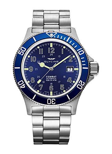 Glycine Combat Sub 42 GL0077-3908.188AT.B1.MB - Reloj de pulsera para hombre con fecha, analógico, automático