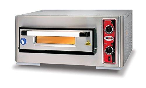 GMG Profi Pizzaofen CLASSIC PF 5050 E für Gastronomie, 1 Backkammer - 4 x Ø 25 cm Pizzen - 51x51x10cm, bis zu 450°C, 4000 Watt