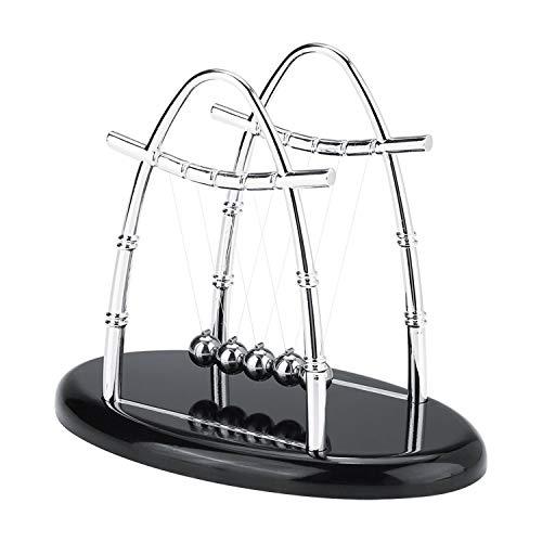 Yosoo Cradle Balance Steel Balls Physics Science Psychology Puzzle Desk Fun Gadgets Pendulum Ornaments Toy with Wooden Base