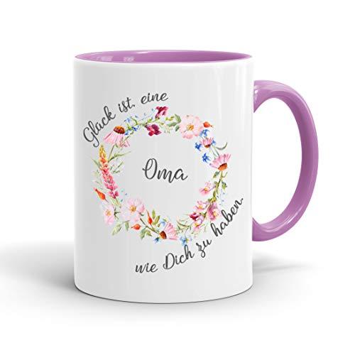 True Statements Oma Tasse Glück ist eine Oma wie dich zu haben - Kaffee-Tasse mit Spruch - Geschenk für Oma/Großmutter, inner rose
