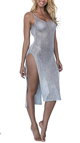 D-Sun Women's Sexy See Though Gold Side Slit Long Beach Dress Bikini Cover-up Swimsuit (Silver, One Size(Fit Size M))