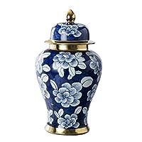 手描きの青と白の磁器、一般的なポット磁器、花瓶の装飾、高温焼成、中国風のリビングルームの家の装飾、3つのサイズ(サイズ:60cm)