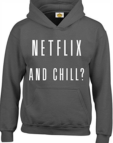 Crown Designs Netflix and Chill? Lustig Geschenk Unisex Pullover Für Männer, Frauen Und Jugendliche (Holzkohle/X-Large)