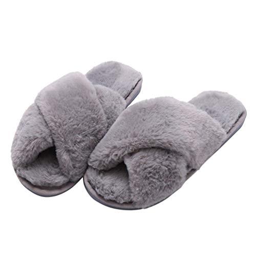 Holibanna Kunstpelz Winter Pantoffel Frauen Mädchen offene Zehe Flauschige Pantoletten Plüsch Wohnungen Schuhe für Mädchen 40-41 EU grau