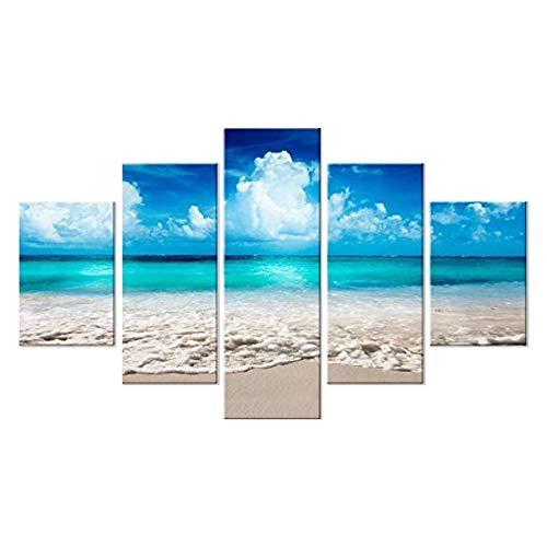 Lupia Quadro Moderno 5 Pezzi in Legno Vogue 48X85 cm Sea Summer