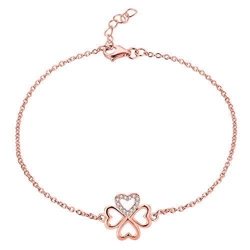 JO WISDOM Pulsera Trébol Corazón Plata de ley 925 Mujer Cristales Swarovski con baño de oro Rosa