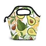 Bolsa de almuerzo aislada con aguacate verde, exquisita, extra grande, para mujer, reutilizable y ligera, para viajes, picnic, trabajo, al aire libre