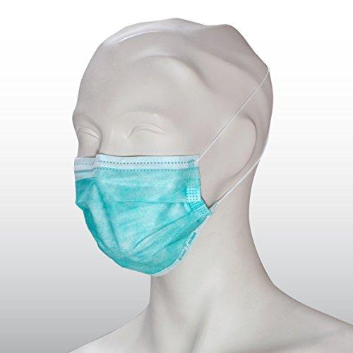 Medizinischer OP-Mundschutz EN 14683 Typ II, grün, 3-lagig, hochwertig, mit Gummischlaufen, PP-Vlies, formbarer Nasenbügel, Einwegmundschutz, zertifiziert, 50 Stück, Einweg Mundschutz