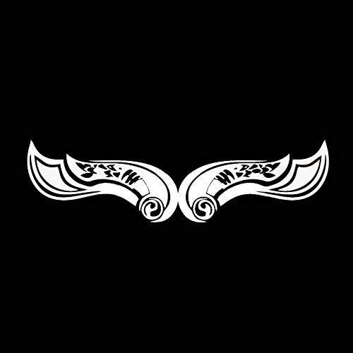 Jingmeichetie - Pegatinas para coche, 18,7 x 5,2 cm, diseño de alas artísticas grandes, pegatinas para coche, color negro y plateado