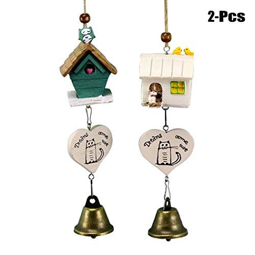 JUSTDOLIFE 2 stuks windspelletjes natuurlijk vogelhuisje windklok hangende windgongs tuin balkon decoratie