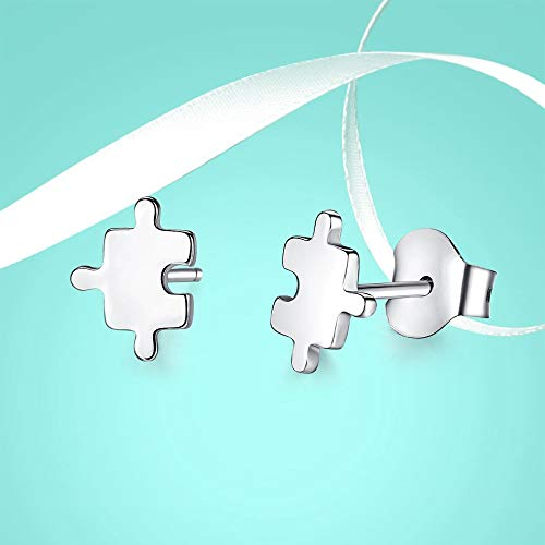 Juguetes Mini rompecabezas pendientes de botón para mujer 925 pendientes pequeños geométricos de plata esterlina joyería