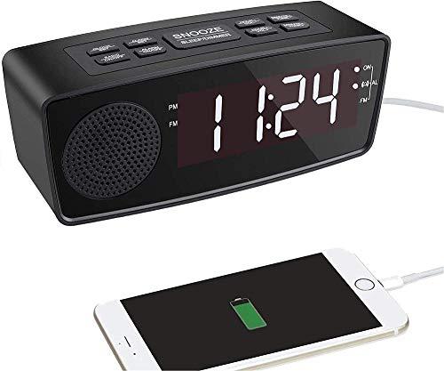HUIQ® Reloj Despertador Am FM Reloj Despertador Digital Radio con Pantalla LED Temporizador de Apagado Atenuador Snooze Batería de Respaldo para dormitorios Estante de Escritorio Junto a la Ca