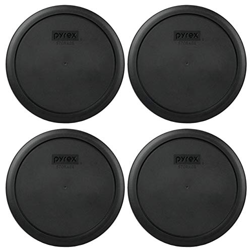 Pyrex 7402-PC 6/7 Cup Black Round Plastic Food Storage Lids - 4 Pack