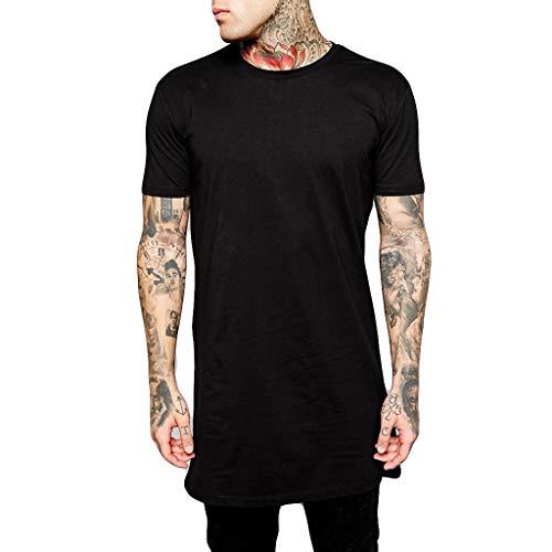 EUZeo EUZeo Tee shirts Männer Sommer Lässig Einfarbig Sweatshirts Kurzarm Herren T-shirt Sportlich Slim Fit Teenager Lange Tops Bluse Shirt Hemd Undershirts
