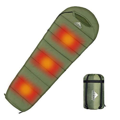 Mumienschlafsack mit Graphit-Heizplatte, Kompressionssack für 3-4 Jahreszeiten, leicht, wasserabweisend und warm für Camping, Wandern, Reisen und Outdoor (Powerbank nicht im Lieferumfang enthalten)