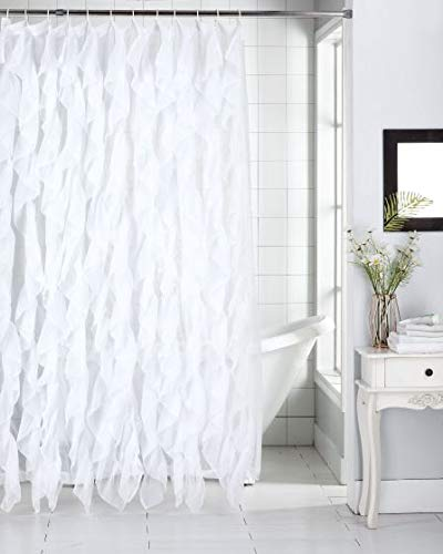 "DiamondHome Shabby Chic Ruffled Sheer Shower Curtain (White, 70"" x 72"")"
