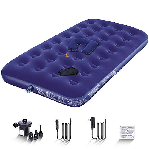Peach Tech Twin Air Mattress for Camping with Electric Pump - Portable Air Bed Inflatable Mattress Blow Up Mattress - Free Air Pillow/Eye Mask/Earplugs/Repair Patches Included for Him