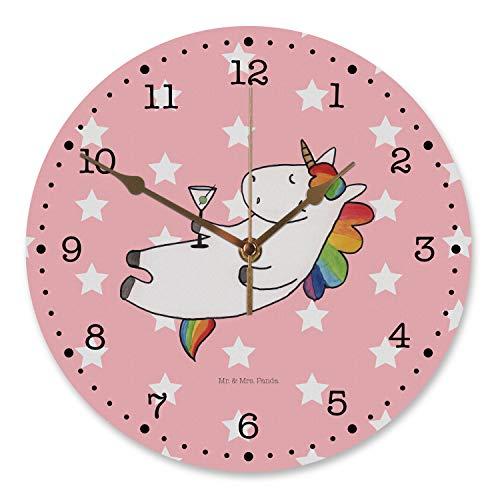 Mr. & Mrs. Panda Uhr, Küchenuhr, 30 cm Wanduhr Einhorn Cocktail - Farbe Rot Pastell