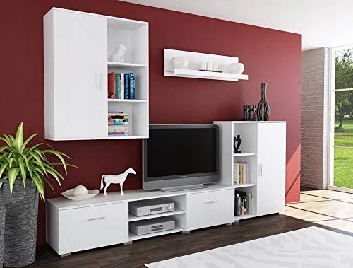 MATKAM Wohnwand Dedal, Schrankwand Wohnzimmer Modern, Wohnzimmerschrank mit Fernsehtisch Komplett Möbel (Weiß)