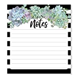 Schoolgirl Style Simply Stylish Succulent Notepad—Black and White Stripe Writing Tablet With Lined Pages for To-Do Lists, Important Notes, Reminders, Checklists (50 Sheets)
