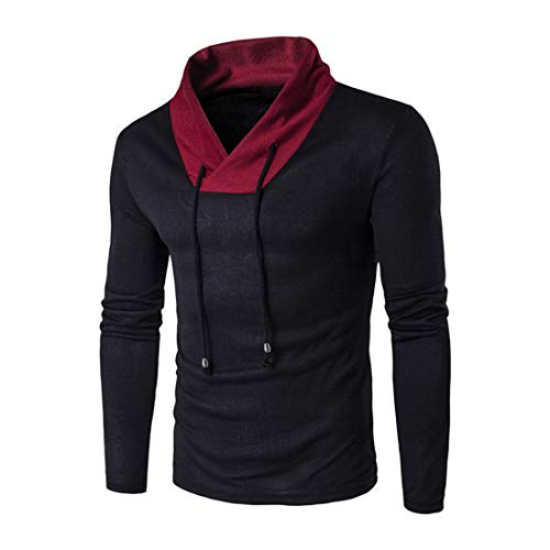 Men T-Shirt Men Pullovers Comfortable Casual Men T-Shirt All-Match Fashion Men Pullovers Slim Long-Sleeve Comfortable Simple Breathable Men T-Shirt Black L