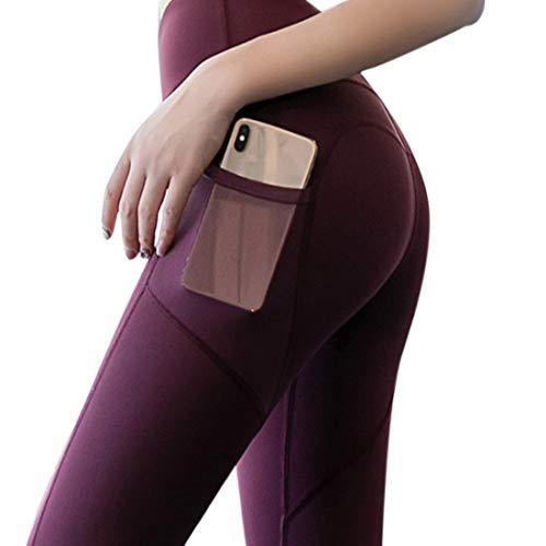 MUYOGRT Damen Leggings Sport High Waist Yogahose mit Taschen Blickdicht Leggings Sportleggins Yoga Hose Fitnesshose(Rot 1,L)