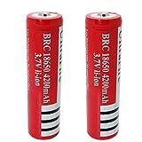 Bateria 18650 Pilas Recargables Bateria 18650 4200mAh 3.7V BRC Litio Li-Ion 1200Ciclos Recargable 18650 Bateria para Linterna LED del Faro de la Antorcha, 66 * 18mm, Rojo (4 Piezas)